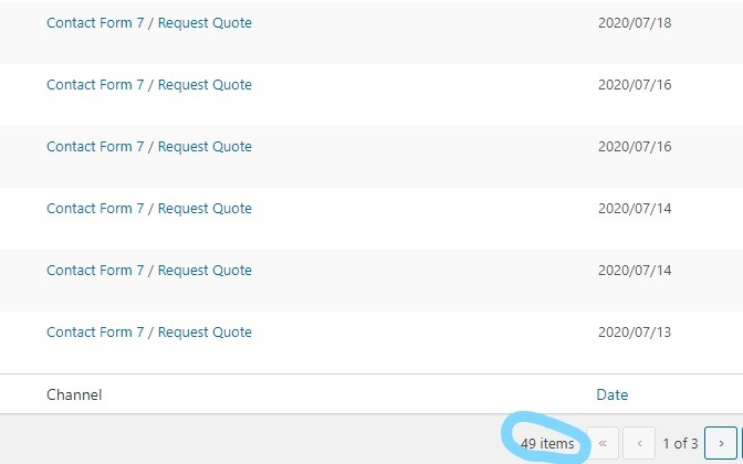 Close-up screenshot of inbound messages in WordPress