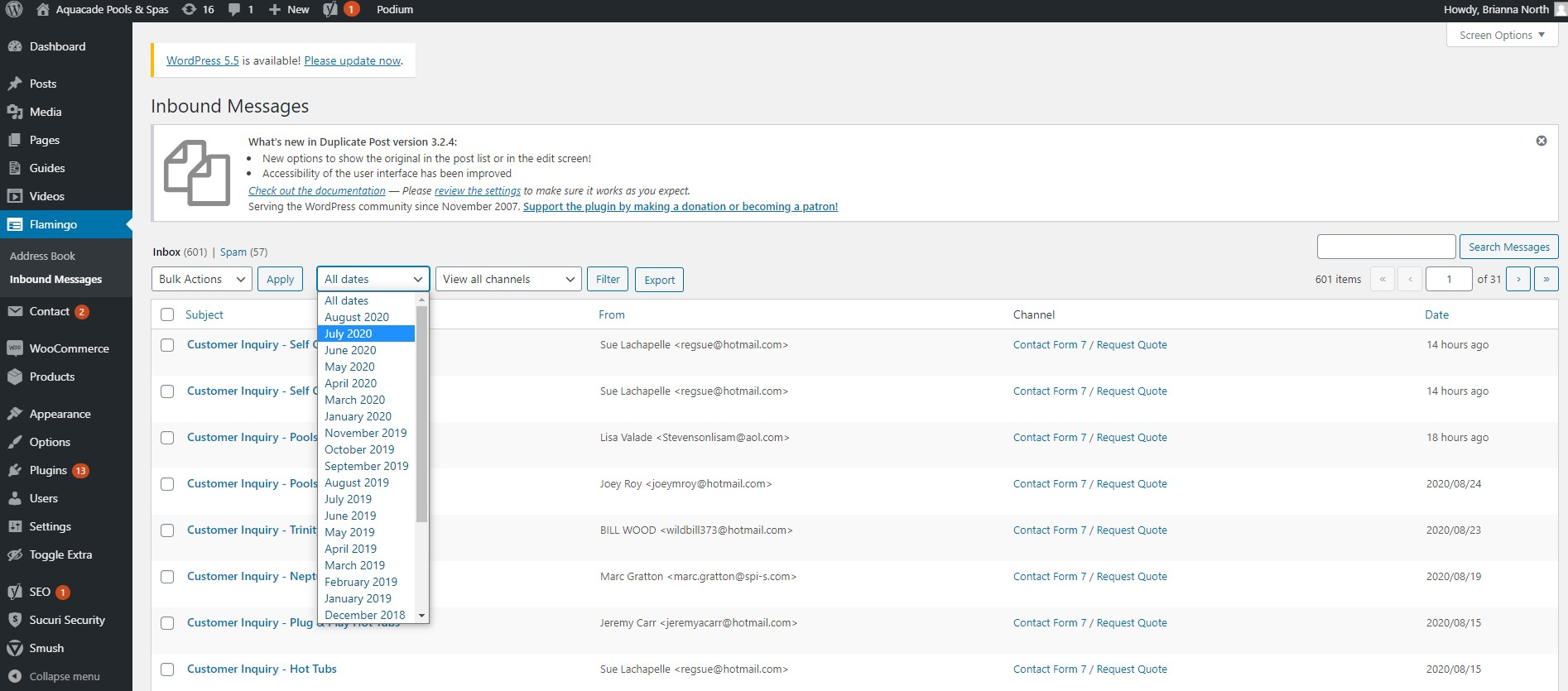Screenshot of inbound messages in WordPress