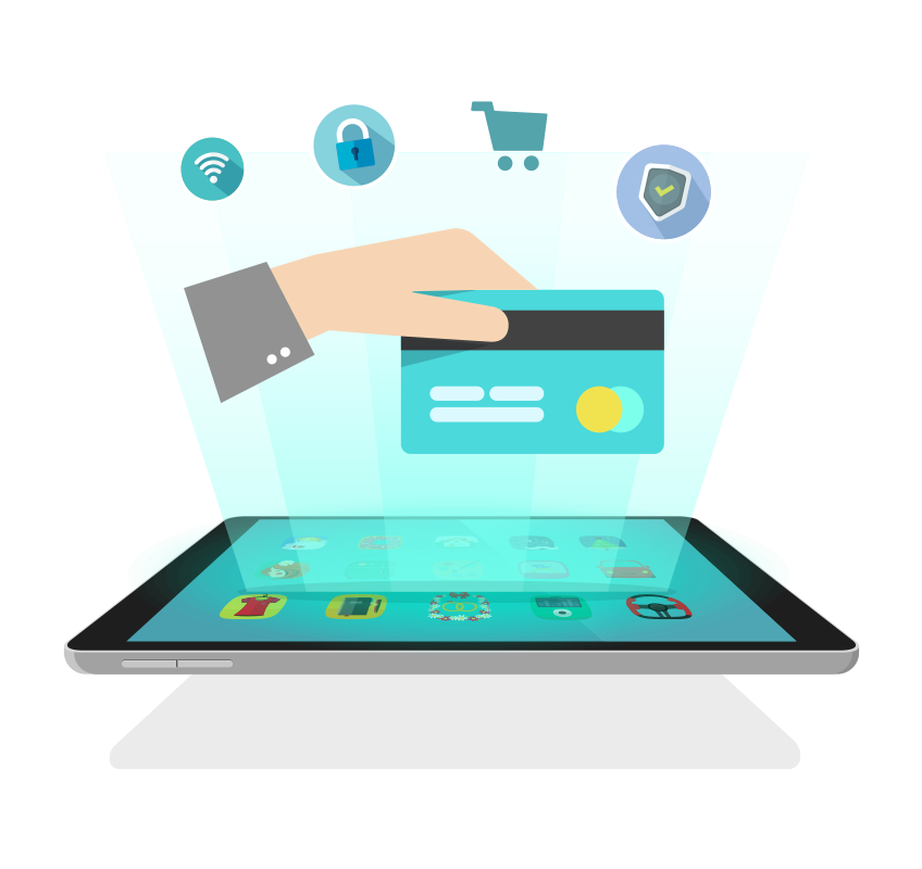 Custom illustration of a hand holding a credit card and ecommerce icons