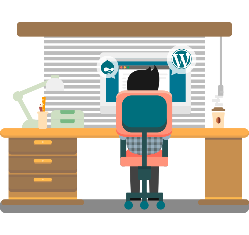 Illustration of Snagged staff member at a computer desk with Wordpress and Drupal icons