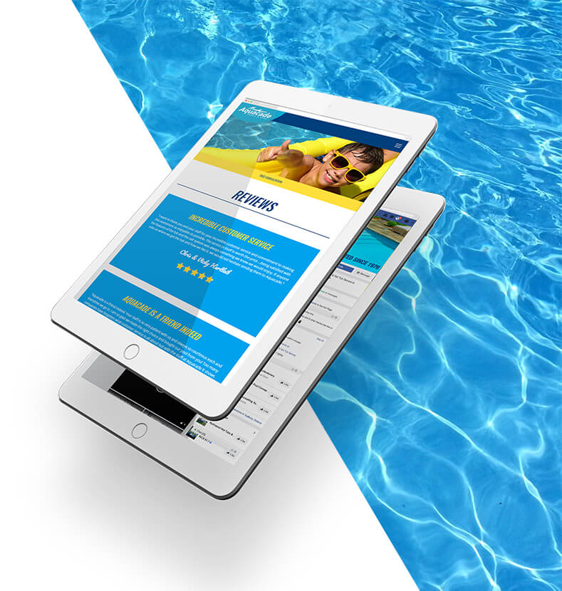 Aquacade reviews web page open on a tablet