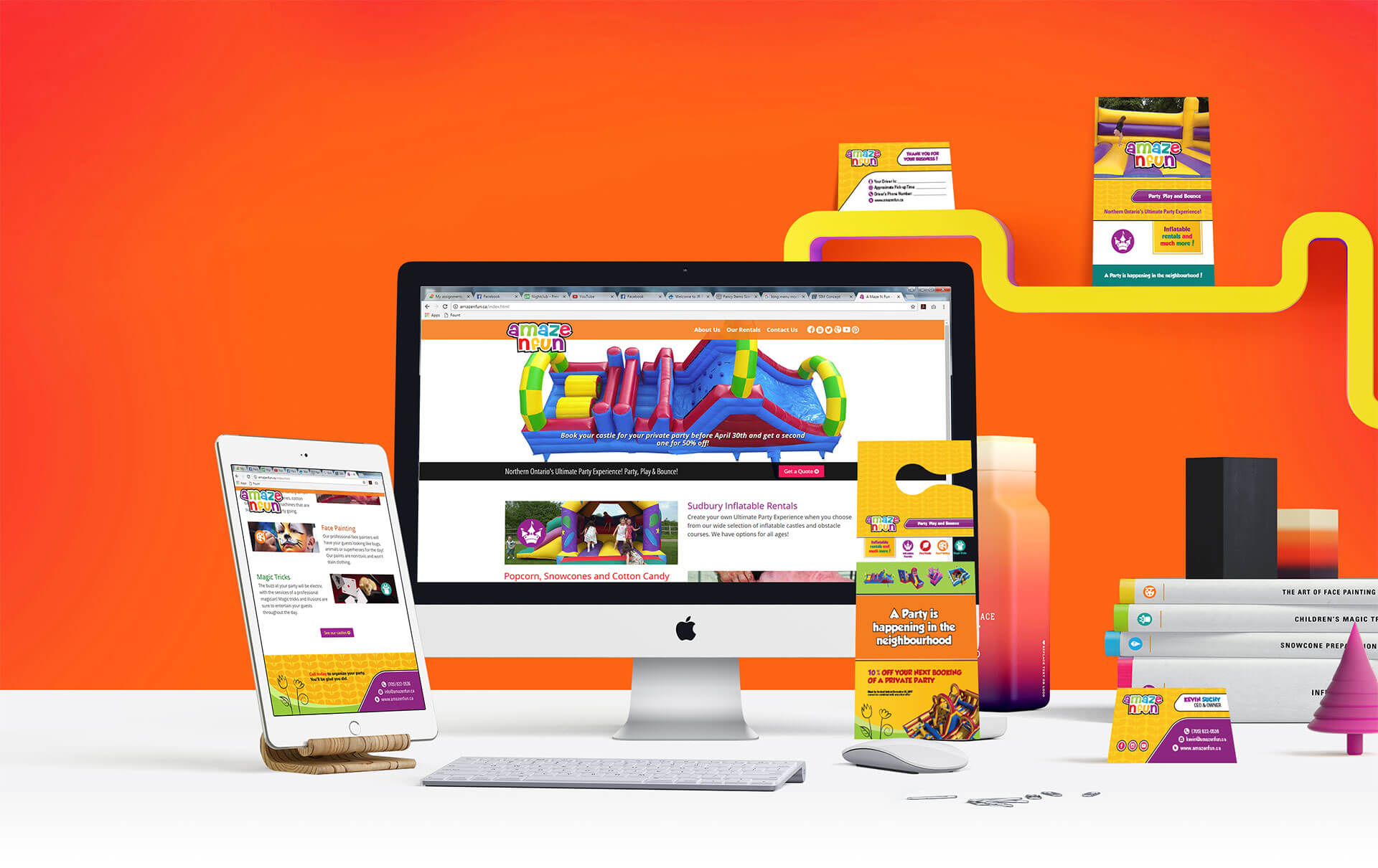 A Maze N Fun professional desktop and tablet website designs matching printed collateral