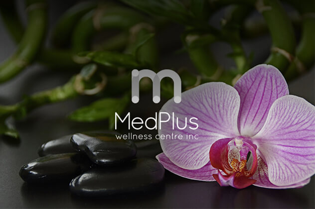 MedPlus Wellness Centre logo above flower, massage rocks and bamboo