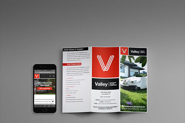 Valley Outdoor Power Equipment responsive business website open on a laptop