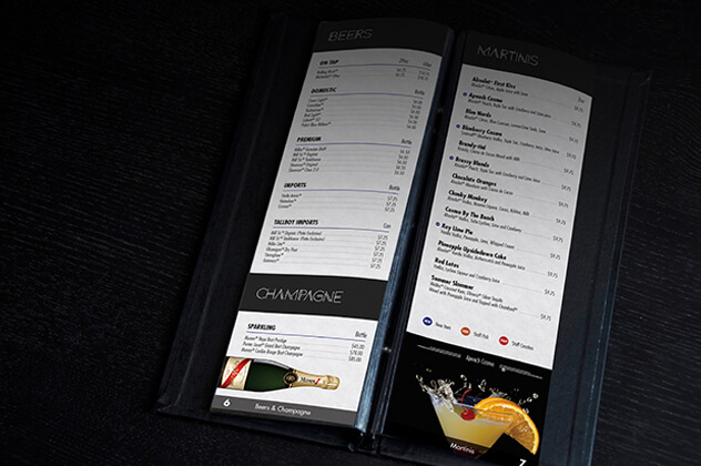 Open Beer & Champagne Menu for Sudbury's S.R.O nightclub