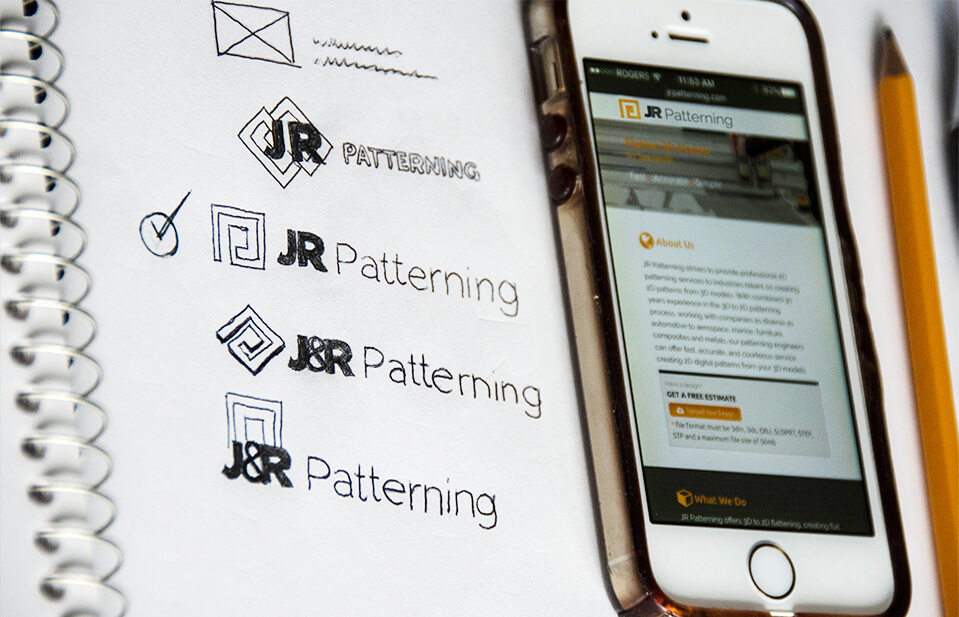 Hand Drawings of JR Patterning Design Logo Branding