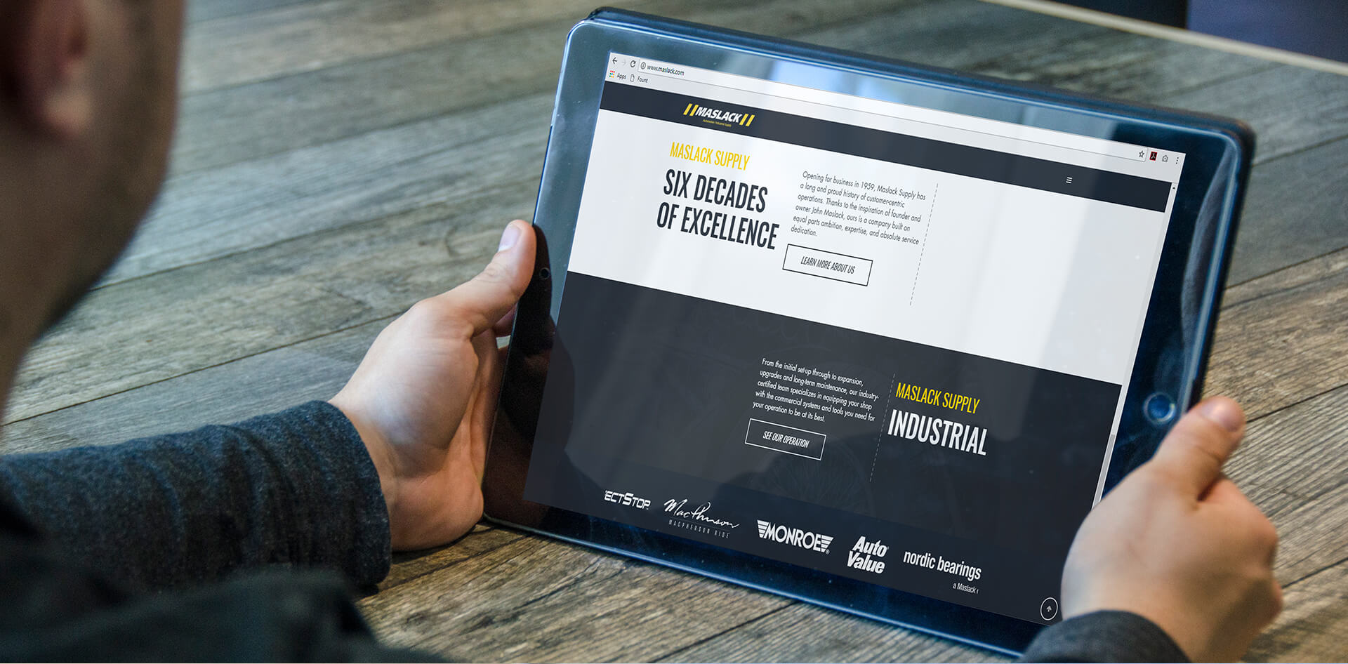 Maslack website open on a tablet