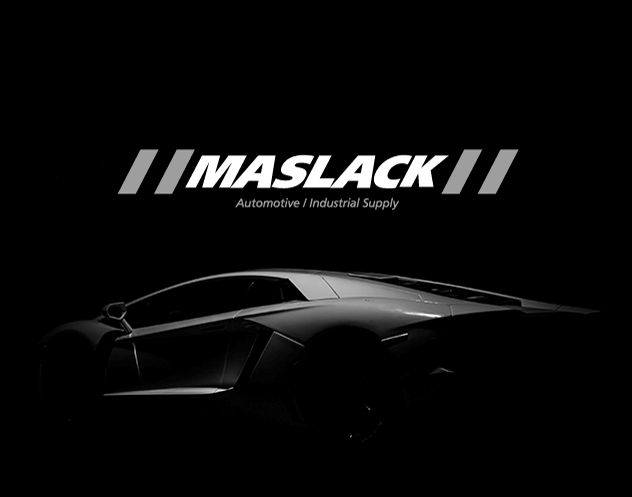 Maslack logo designed above professional car photograph
