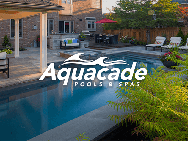Aquacade logo designed above a professional outdoor pool photograph