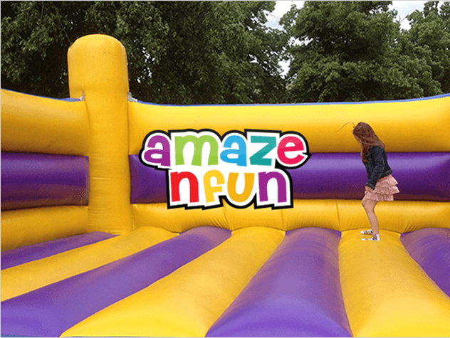 A Maze N Fun logo above a photo of a young girl jumping on a bouncy castle