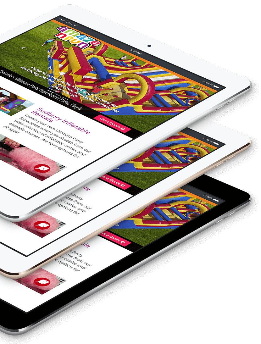 Responsive Design of A Maze N Fun website on tablet